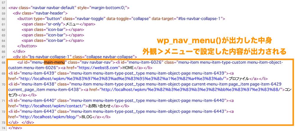nav部分のソースコード。wp_nav_menuがul以下のメニュー項目を出力している