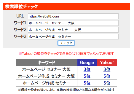 SEOチェキによる検索順位の確認