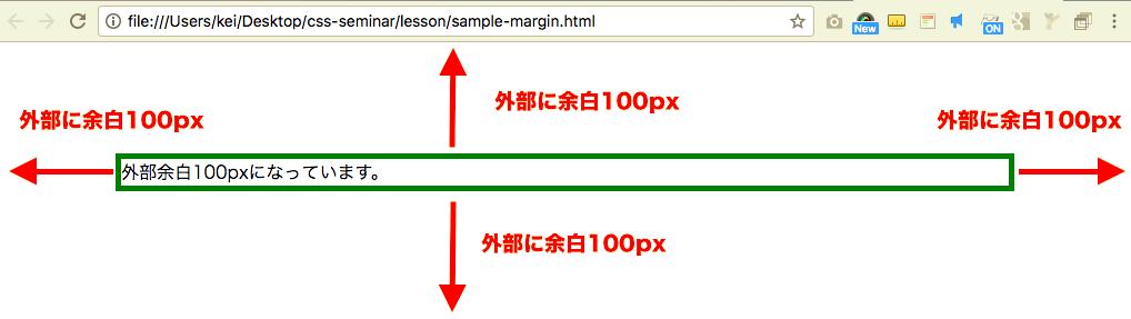 CSSサンプル 外部余白 100px