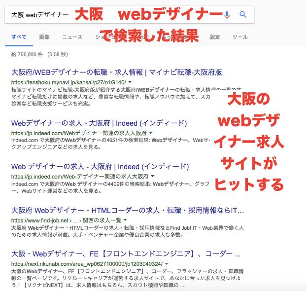 大阪 webデザイナー で検索した結果 求人サイトがヒットする