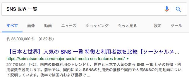 SNS 世界 一覧 で検索した結果