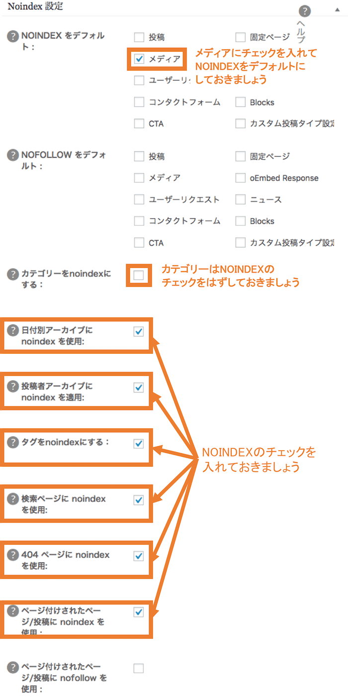 All in one SEO Pack Noindex設定