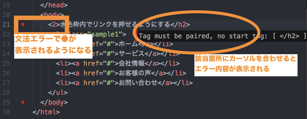 文法エラーがあると該当箇所赤い●が表示されるようになります。