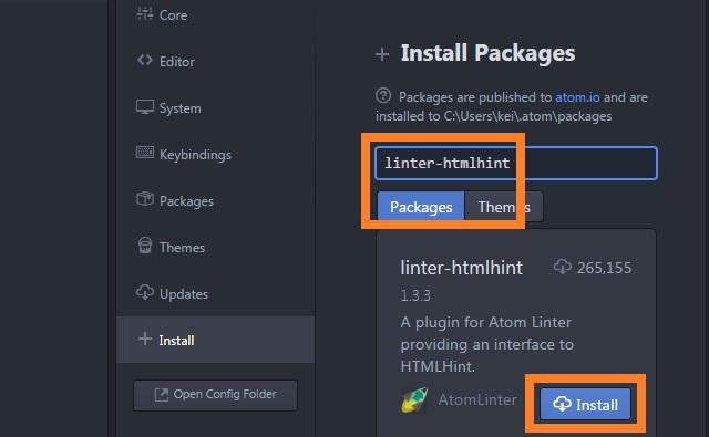 開発エディタ Atom linter-htmlhint インストール