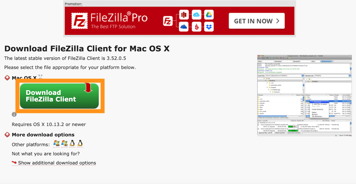 FTPソフトFileZillaのダウンロード