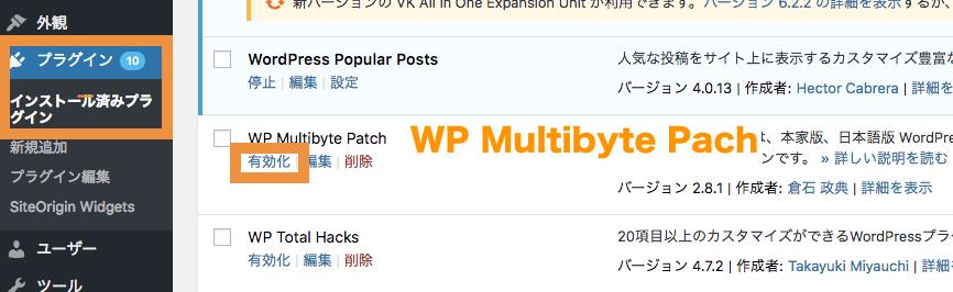 WP Multibyte Patchを有効化する