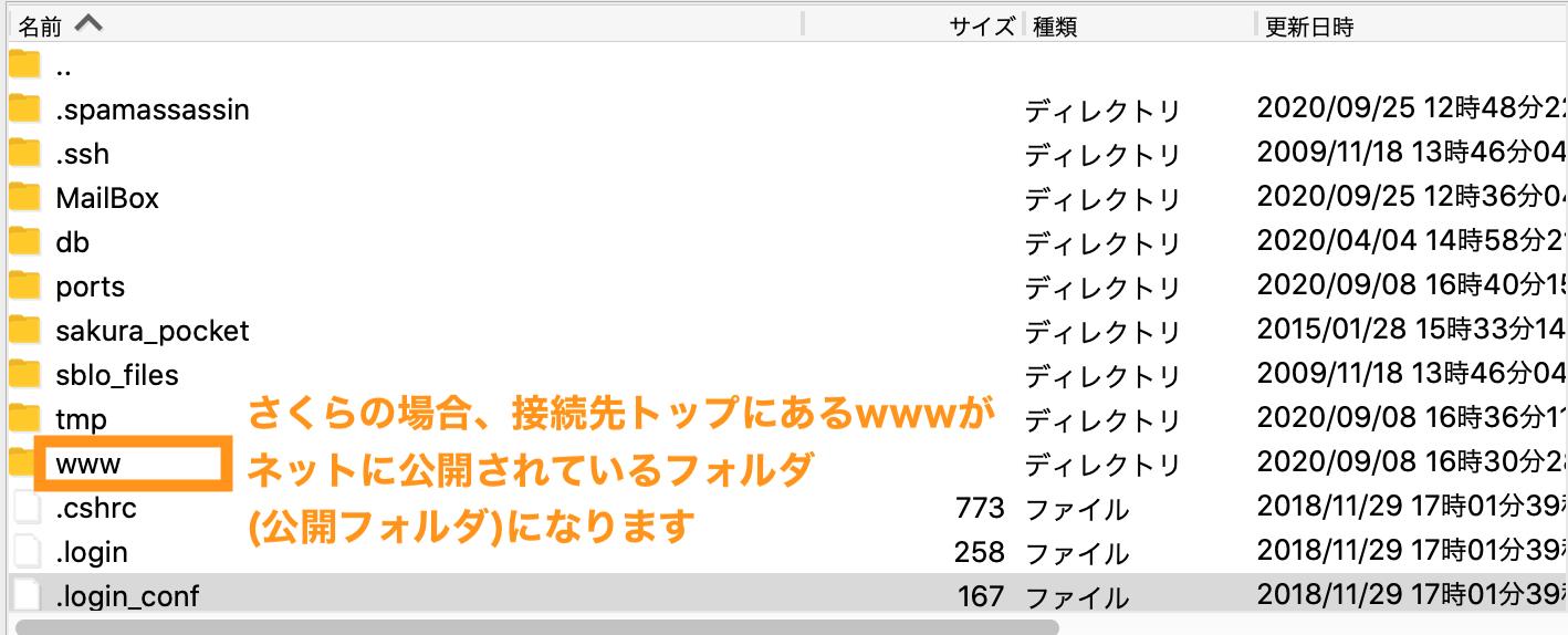 さくらレンタルサーバーのFTPの構造