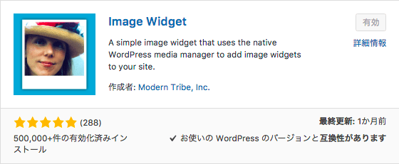 WordPress プラグイン Image Widget