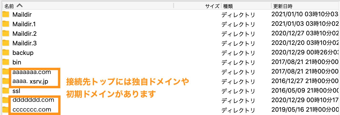 エックスサーバーのFTPの構造