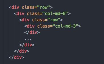 bootstrap のカラムのネスト構造