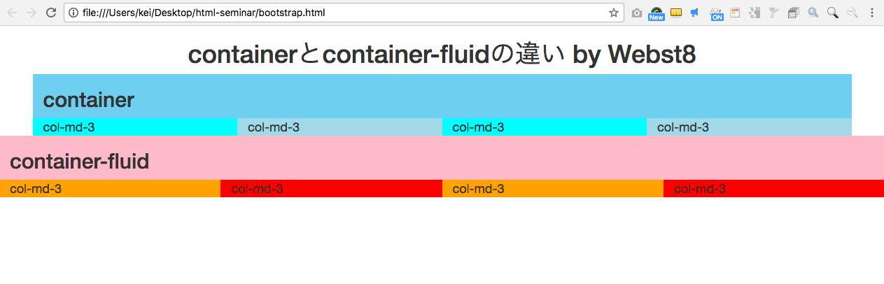 containerとcontainer-fluidの違い by Webst8