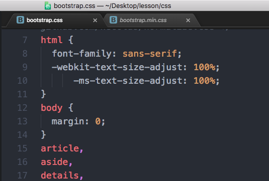 通常版のCSS。改行やスペースが入っている。bootstrap.css