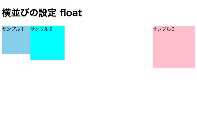 サンプル3のdivをfloat:rightで右側に並べる