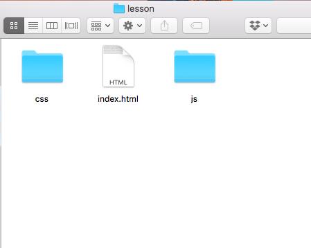 lessonフォルダに空のindex.html、css・jsフォルダを作成する