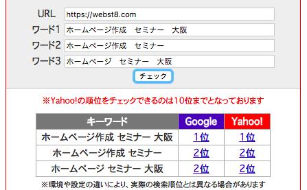 2017年9月28日時点 SEOチェキにて確認した検索順位結果「ホームページ作成 セミナー 大阪」で第1位、「ホームページ作成 セミナー」で第2位、「ホームページ セミナー 大阪」で第2位