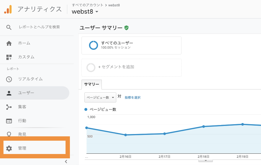 Google Analytics管理メニュー