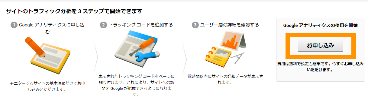 Google Analytics お申込み