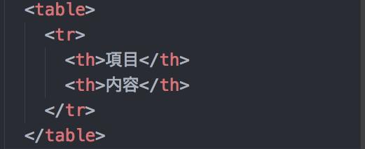 html tableタグ thタグ