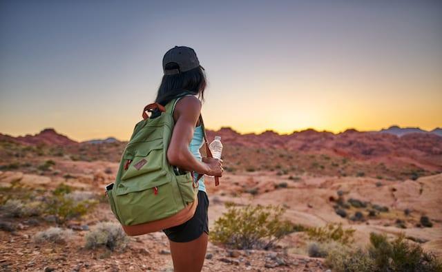 荒野の先の未来を歩く女性