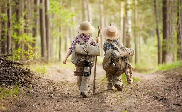 森の中を歩く二人