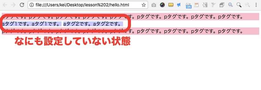 インライン要素 aのサンプル(何もしていない状態)