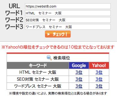 2017年9月28日時点 SEOチェキにて確認した検索順位結果「HTML セミナー 大阪」で第3位、「SEO対策 セミナー 大阪」で第3位、「ワードプレス セミナー 大阪」で第3位