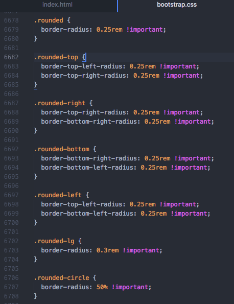 Bootstrap4 bootstrap.css roundedのCSS