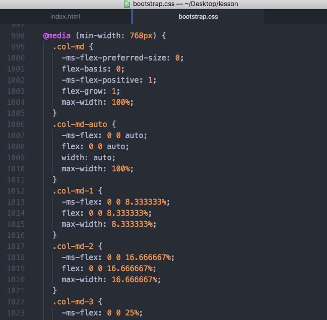 Bootstrap4 cssファイル 768px以上のcol-md-*の設定