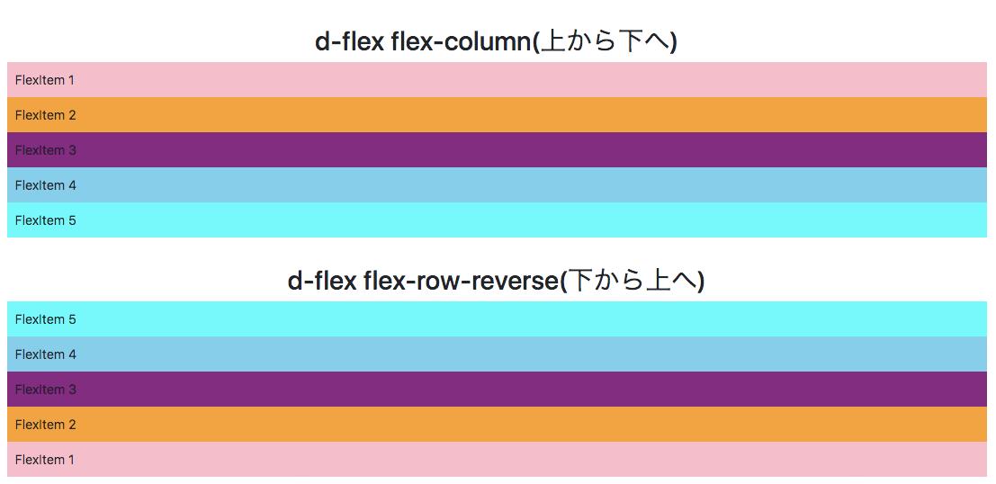 Bootstrap flex-columnとflex-column-reverse