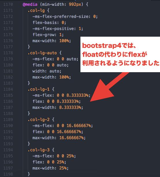 bootstrap4ではfloatの代わりにflexを利用
