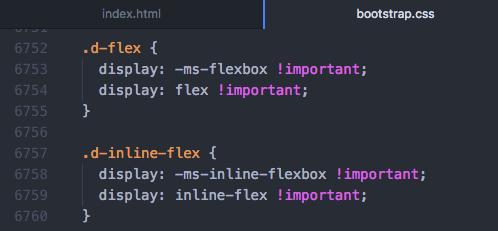 Bootstrap4 bootstrap.css d-flex、d-flex-inlineの設定
