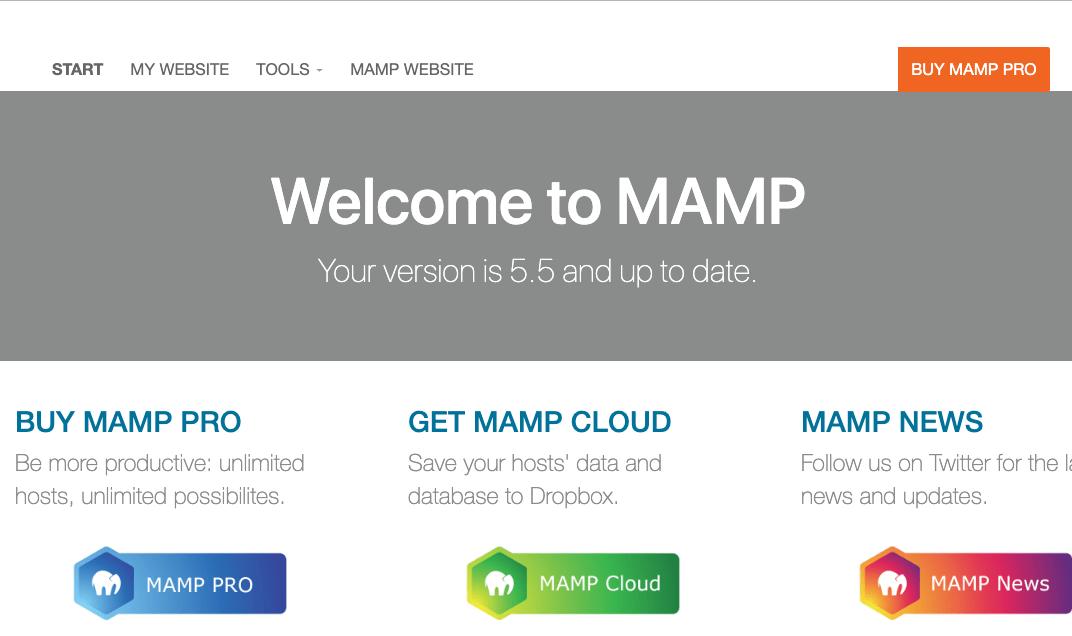 MAMP Webページ
