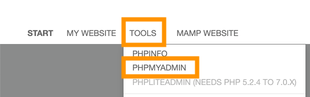 TOOLS>PHP MY ADMIN