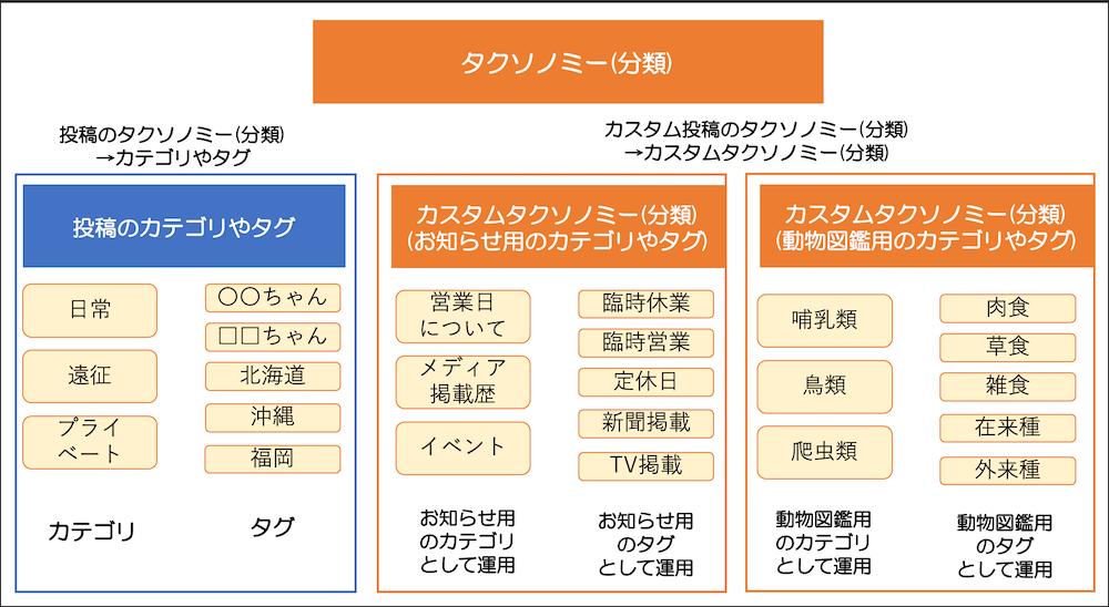 カスタムタクソノミー(カスタム分類)の説明図
