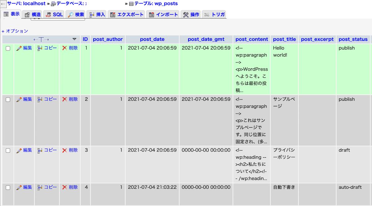 WordPress のデータベース wp_postsのサンプル