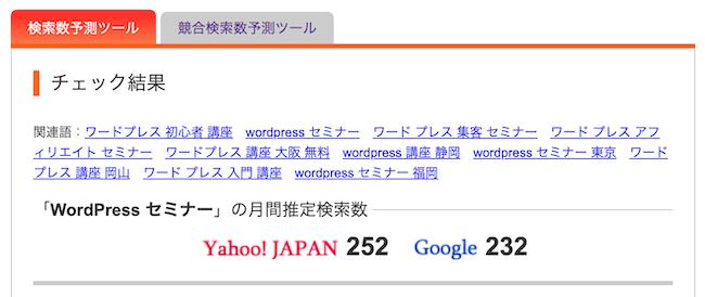 WordPress セミナーの検索ボリューム