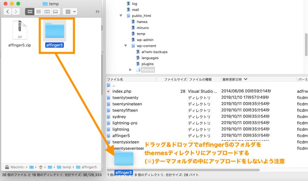 ftpでファイルをアップロードする。