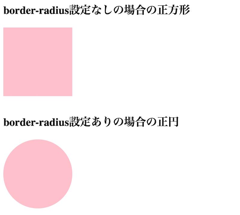 正方形のdiv要素にborder-radius:50%を適用した例