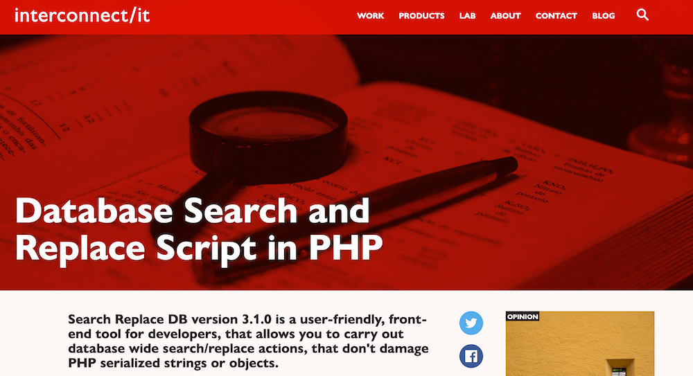 Database Search and Replace Script in PHP トップページ