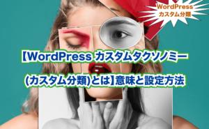 【WordPress カスタムタクソノミー (カスタム分類)とは】意味と設定方法