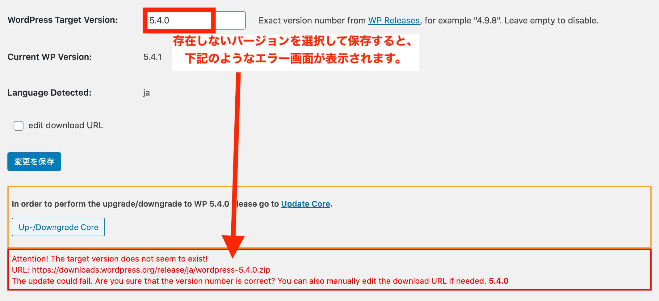存在しないバージョンを入力するとページ下部にエラ〜メッセージが表示されます