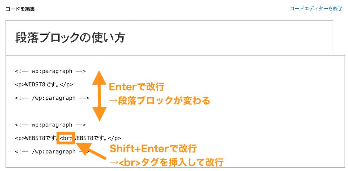 Shift + EnterとEnterの改行の違い
