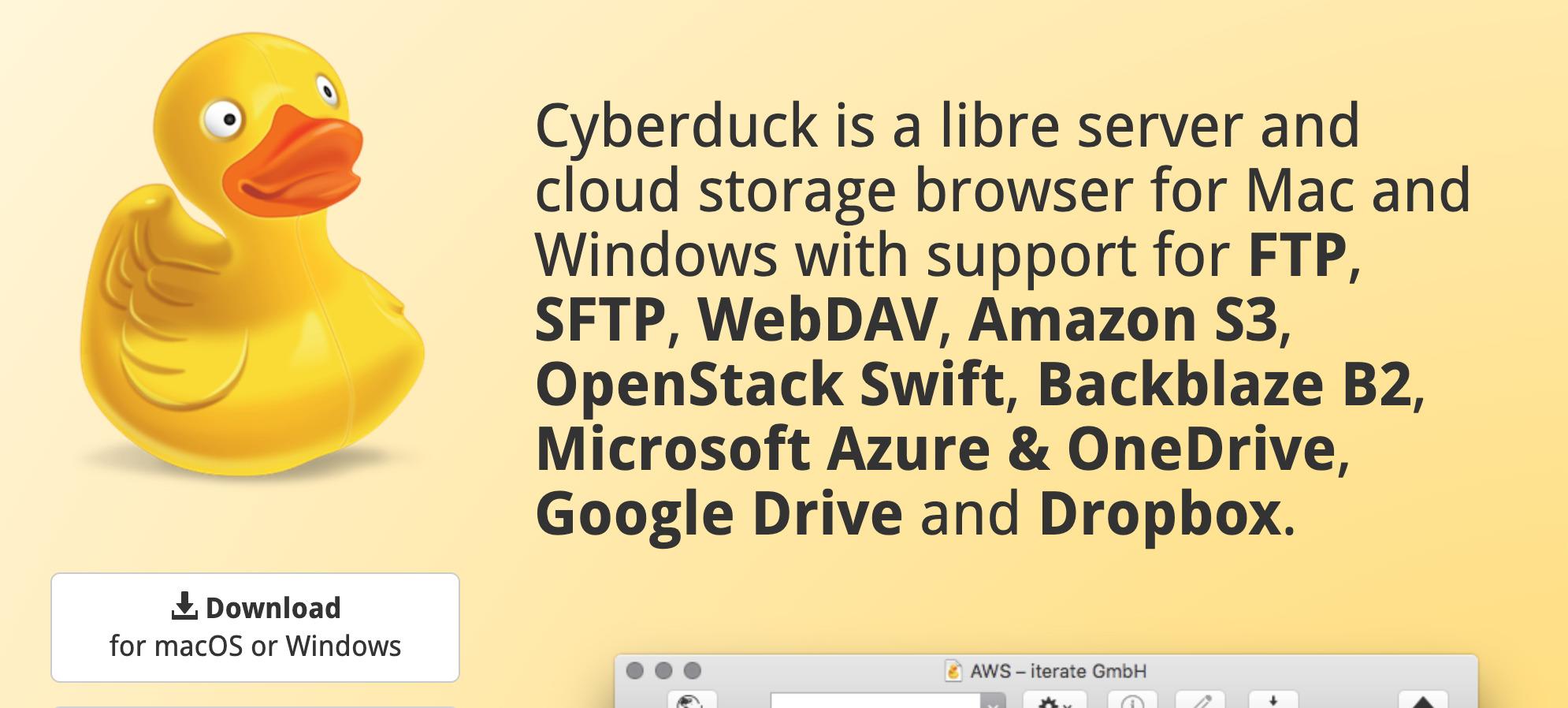 Cyberduckの画面