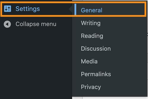 Setting>Generalを選択