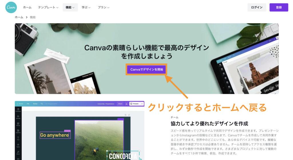 Canvaでデザインを開始」