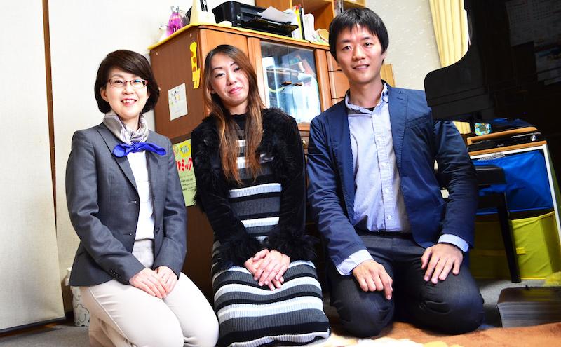 ライブリーピアノ教室の丹羽さん・インタビューアーの河本さん・スクール運営の松本